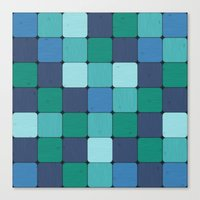 Blue Wood Blocks Canvas Print