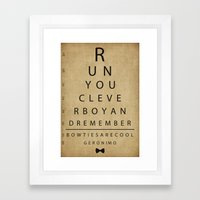 Run You Clever Boy - Doctor Who Vintage Eye Exam Chart Framed Art Print