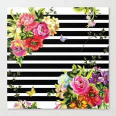 Stripes Floral Canvas Print