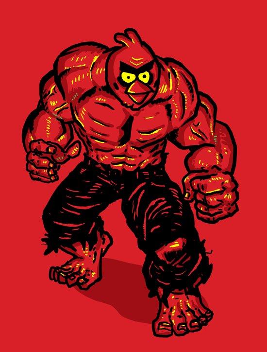 Angry Bird hulk Red Canvas Print