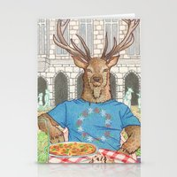 Everyday Animals - Mr Stag eats his lunch Stationery Cards