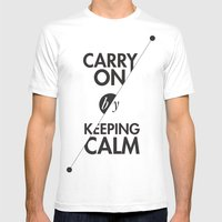 Carry On By Keeping Calm Mens Fitted Tee White SMALL