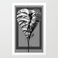 Razor Blade Romance (Black and White Version) Art Print