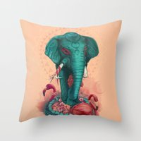 Elephant on the mat Throw Pillow