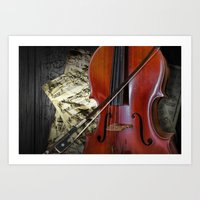 Cello with Bow a Stringed Instrument with Classical Sheet Music Art Print