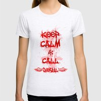 Keep Calm and Call Daryl Dixon!!! Womens Fitted Tee Ash Grey SMALL