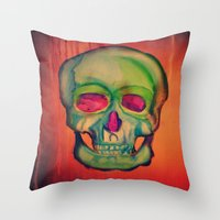 Watercolor skull/Green Throw Pillow
