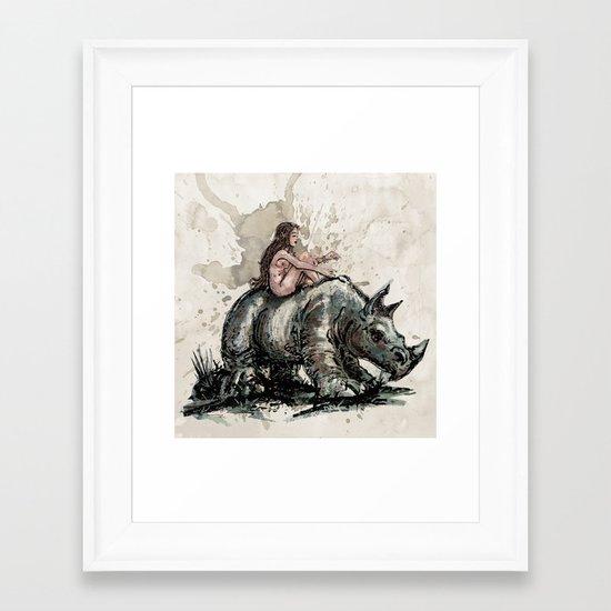 The Girl and the Rhino Framed Art Print