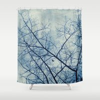 Tree In Blue Shower Curtain