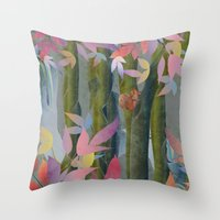Autumn by a Waterfall Throw Pillow