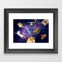 Cats In Space Framed Art Print