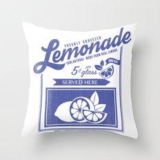 Freshly Squeezed Lemonade - Blue Throw Pillow