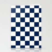 Checkered Blue and White Stationery Cards