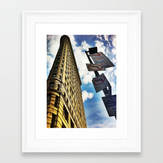 Looking Up At Flat Iron Framed Art Print