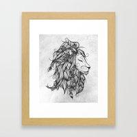 Poetic Lion B&W Framed Art Print