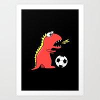 Black Cartoon Dinosaur Soccer Art Print