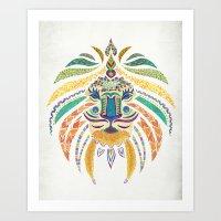 Whimsical Tribal Lion Art Print