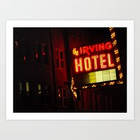 The Irving Park Hotel ~ Chicago Noir ~ Vintage Neon Sign Art Print