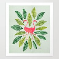 Art Print featuring Flamingos by Cat Coquillette