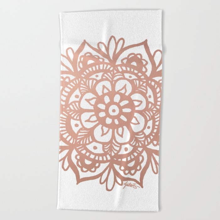rose gold mandala beach towel summer