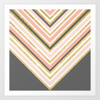 Stylish Boho Gray Pink C… Art Print