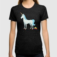 Unicorn Poop Womens Fitted Tee Tri-Black SMALL