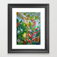 Giraffe meets snail Framed Art Print