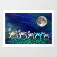 MOON CATS Art Print