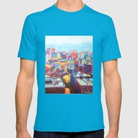 NYC Rooftops Remix Mens Fitted Tee Teal SMALL