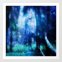 Blue night #Wood Art Print