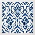 Ikat Damask Navy Canvas Print