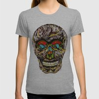 Colorful Skull  Womens Fitted Tee Athletic Grey SMALL