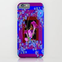 iPhone Cases featuring Blue Morning Glory Garden Bounty Purple Art by sharlesart