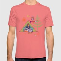 Racoon's Campout Mens Fitted Tee Pomegranate SMALL