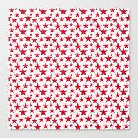 Red stars on white background illustration Canvas Print