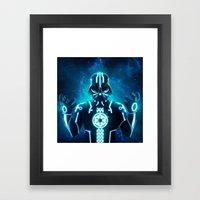 Tron Vader Blue Framed Art Print