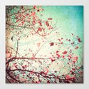 Even in Dreams, Atumn Fall, Textured Sky, Vintage Nature, Blue Pink Red  Canvas Print