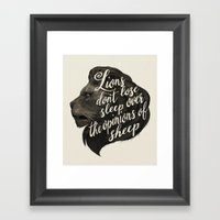 Lions don't lose sleep over the opinions of sheep Framed Art Print
