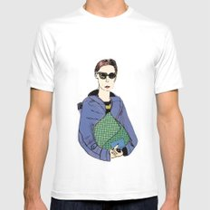 Bag Lady Blue SMALL White Mens Fitted Tee