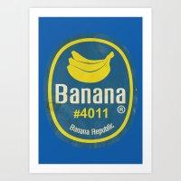 Banana Sticker On Blue Art Print