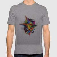 Abstract Geometric Art Mens Fitted Tee Athletic Grey SMALL