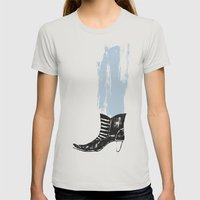 The Boot Goes On Womens Fitted Tee Silver SMALL