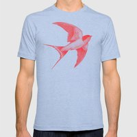 Barn Swallow (red)  Mens Fitted Tee Tri-Blue SMALL