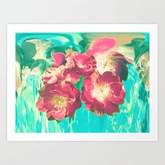 Red Wild Roses On Turquoise Ground Art Print