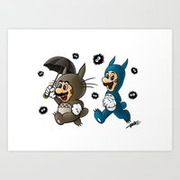 Super Totoro Bros. Art Print