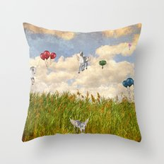 Pegasus and Balloons Throw Pillow