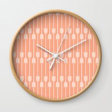 Peach and White Arrows /// www.pencilmeinstationery.com Wall Clock