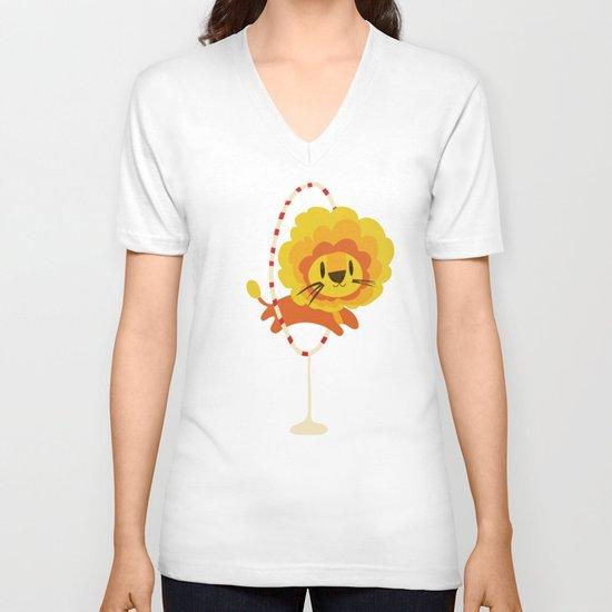 Lion hopped through a loop V-neck T-shirt
