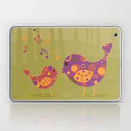 Laptop & iPad Skin featuring Bird Duet by Graphic Tabby