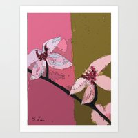 Digital Painting - Title: Yin and Yan ( Orchid Blossoms) Art Print